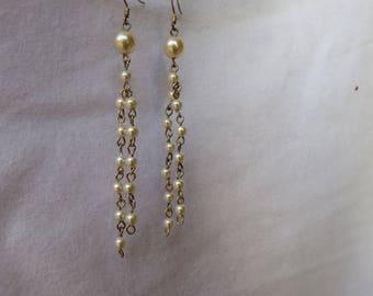 Pearl and silver chandelier earrings