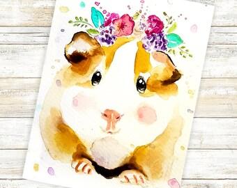 Animal Watercolor Painting, Guinea Pig, Guinea Pig Print, Guinea Pig, Guinea Pig Wall Art, Guinea Pig Lover, Cute Guinea Pig, Animal Nursery