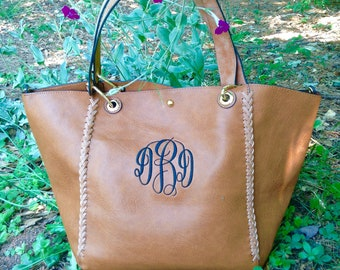 Monogram purse tote - Boho Style purse- monogram pocketbook - brown monogram bag ~ Boho Bag