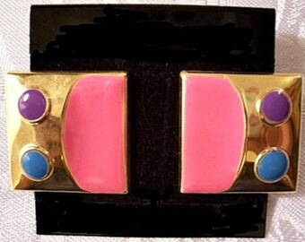 Pink Fuchsia Square Pierced Stud Earrings Gold Tone Vintage Large Purple Blue Dots Surgical Steel Posts
