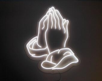 Hands Pray Neon Sign