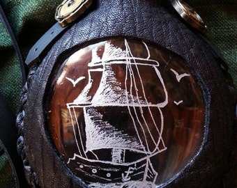 Leather wrapped Etched Glass Flask with pirate ship-Steampunk-pirate-renaissance faire