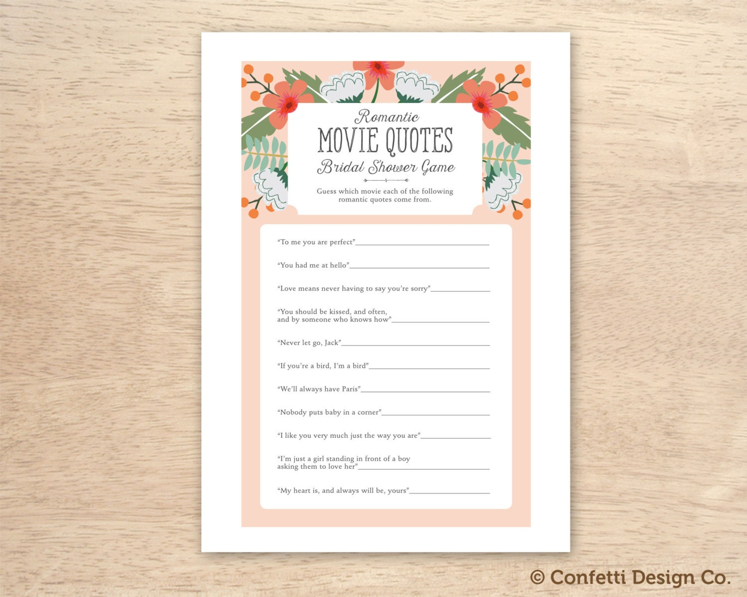Instant Download Floral Peachy Bridal Shower Romantic