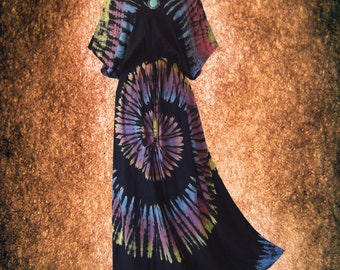 Tropical Vintage Spiral Hand dyed dress maxi Kimono dress