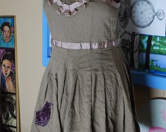 sun dress, bird, flare, flowy, artsy, cotton, empire waist, boho dress, leaf, vintage, summer dress, spring dress, tank dress, sleeveless