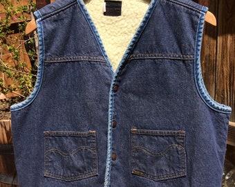 Vintage Sears Roebucks Jean Vest - Large