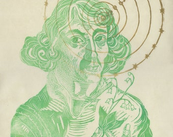 Copernicus Linocut De Revolutionibus - First Edition - Lino Block Print History of Science Portrait of Copernicus Solar System, Astronomy