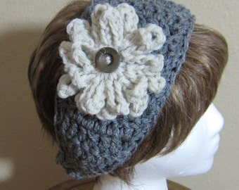 Crochet Headbands with removable flower in various Colors Brown or Gray