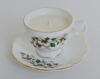 White Dogwood Vintage Teacup Candle