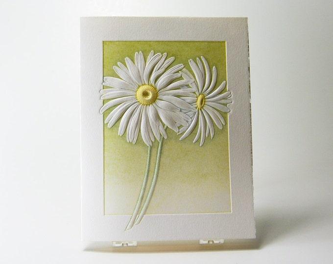 Daisies Note Card. Birthday. Love. Letterpress. Embossed. Single card. Blank inside.