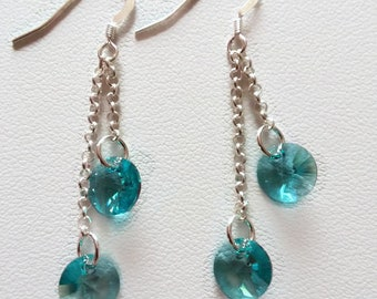Earrings Silver 925, long earrings, colored earrings, pendant earrings, earrings circle, girl's earrings, woman's earrings