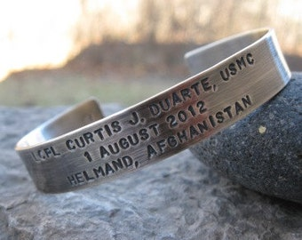 Military Rememberence Mens Cuff . personalized sterling silver cuff bracelet. rustic finish . american flag . custom stamped with your words