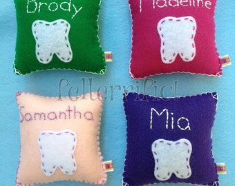 Handmade Felt Embroidered Name Tooth Fairy Pillow Boy or Girl