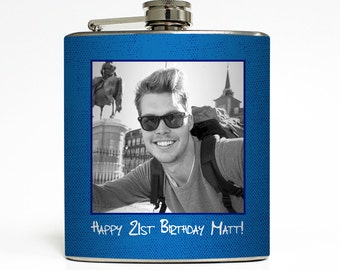 Custom Photo Flask Personalized Caption Choose Background Color Funny Guys Birthday Gift - Stainless Steel 6 oz Alcohol Hip Flask LC-1620