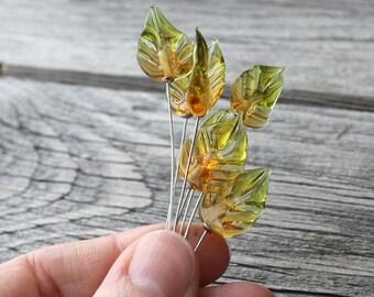 Lampwork Leaves Beads Set 5 pcs, Leaf Lampwork Beads, Glass Beads, Handmade Focal Beads, Lampwork Bead, Lampwork Leaves Beads, Leaf Lampwork