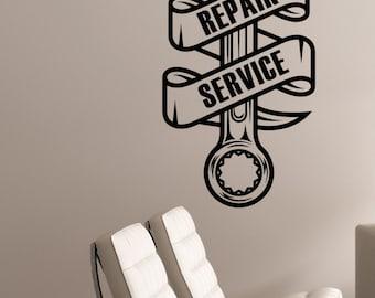 Repair Service Logo Vinyl Wall Decal Custom Sticker Auto Car Salon Sign Garage Decorations Mechanic Station Window Removable Art Decor aus2