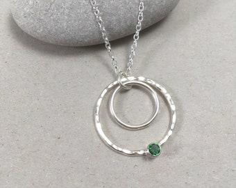 Tsavorite Sterling Silver Circle Necklace, Hammered Tsavorite Garnet Silver, Silver and Tsavorite Garnet Necklace January Birthstone