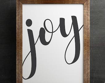 JOY printable wall art, 8x10 and 12x18, typography print, script, calligraphy