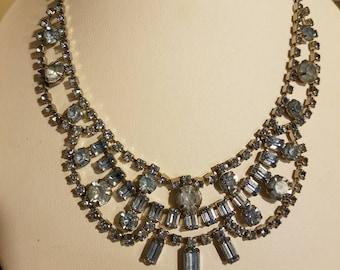 Something Blue! Beautiful Vintage Rhinestone Bib Necklace in Ice Blue