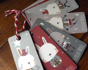 Lot de 8 étiquettes cadeaux Petits lapins de Noël