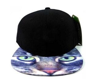 Kitty Cat Feline Snapback Flat Bill Black Hat Snap back Animal Print