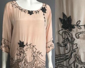 1920s blouse, beaded silk blouse