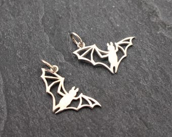 Bat Charm, Sterling Silver, Bat Pendant, Flying Bat, Lightweight Charm, Goth, Cave Jewelry, Caving, 925