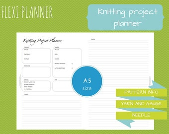 Flexi planner | A5 size filofax inserts | Knitting project planner | instant download