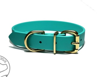 """NEW - Teal Dog Collar - 1"""" (25mm) Wide Dog Collar - Beta Biothane - Your choice of: Stainless Steel or Solid Brass Hardware - Custom Sizes"""