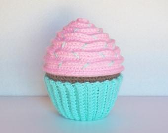 Large Personalized Amigurumi Crochet Chocolate Cupcake / Stuffed Crochet Chocolate Cupcake / Plush Amigurumi Crochet Cupcake