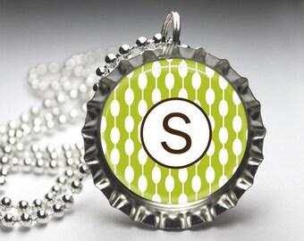 Custom Alphabet Initial Monogram Custom Pendant Necklace - Bottlecap Pendant Jewelry - Free Ball Chain