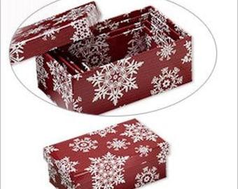 "Christmas Snowflake Designs Nesting Gift Boxes Set 3 1/2 to 5 1/4"" 4pc set"