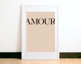 Amour Print - French Word Print - Love Art Print - Lovers Gift - Modern Natural Word Art - Beige Art - Française Amour - French Giclée Print