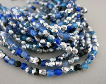 4mm Glacier Bay Czech Glass Beads, Etched Faceted Silver Finish, Strand of 40