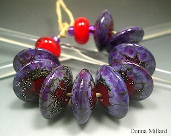 Handmade LAMPWORK Glass Bead Set DONNA MILLARD orchid purple silver sra supplies lamp work autumn fall summer