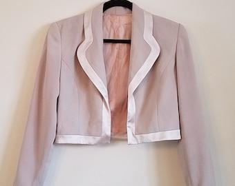 Vintage Cropped Blazer / cropped taupe blazer / blush blazer / short blazer / short pink jacket / cropped jacket / taupe spring jacket