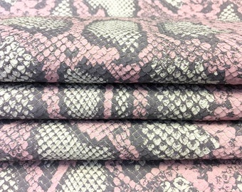 Pastel SNAKE Leather print light pink Italian textured Lambskin Hide with cut scales Pink Patterned Natural Leather Fabric PASTEL SNAKE 2oz