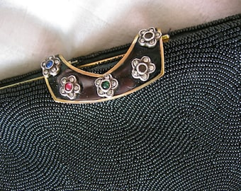 40s French Beaded Opera Purse - Black Jeweled Evening Bag - Flower Enamel Clasp - Vintage Handbag - France