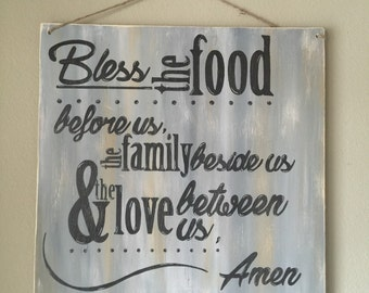 Bless This Food Wooden Sign
