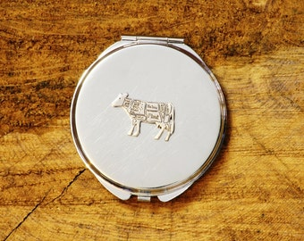 Butcher Theme Beef Cow Style Compact Pocket Mirror Chrome Nickle Plated FREE ENGRAVING MESSAGE Ladies Butcher Gift