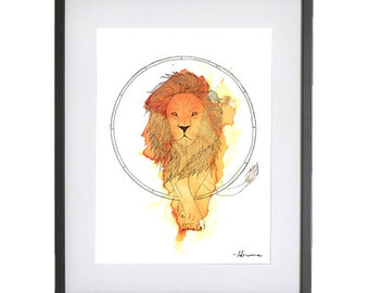 Leo Zodiac Illustration Print with Gold Foiling
