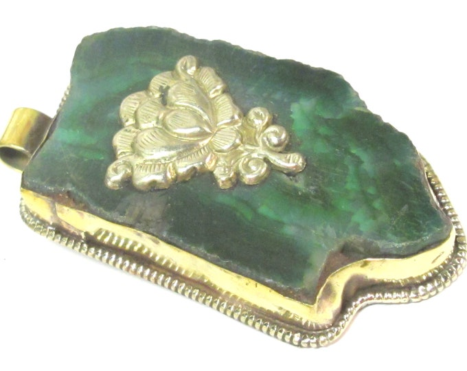 OOAK Tibetan  Nepal large long freeform Green agate gemstone pendant featured with reverse side lotus flower design on brass  - PM581MB