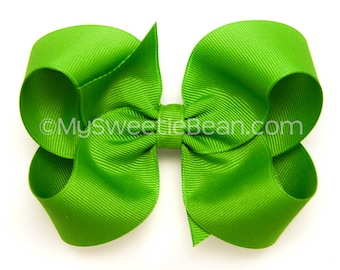 Apple Green Hairbow,  4 inch Grosgrain Bow, No Slip Classic Basic Hair Bows for Girls Baby Toddler