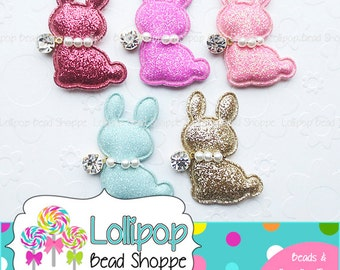 48mm Glitter BUNNY Flat Back Applique Padded Embellishment Bunnies Rabbit Pearls Easter Bunny Flatback Cabochons DIY Hair Bow Headband