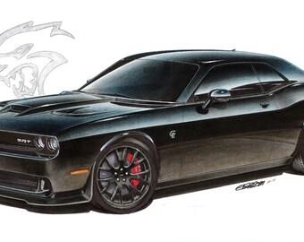 2015 Dodge Challenger Hellcat 12x24 inch Art Print by Jim Gerdom