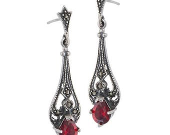 Sterling Silver Vintage Marcasite Victorian Garnet Earrings