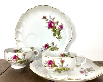 Lipper and Mann Snack Set - L and M Bondware Snack Set, Pompadour Rose Pattern, Moss Rose Pattern, Snack Plates and Cups, Scalloped-Shaped