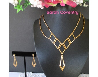 Necklace Earring Set * SARAH COVENTRY * Geometric * Dangle Necklace * Double Chain * Classic Vintage