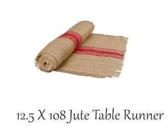 Table Runner, 12.5 X 108 Jute Table Runner , Red Stripe, Table Linens, Rustic Wedding, Farmhouse look