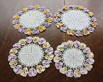 Doily Lot 4 Vintage Crocheted Doilies with Pansies